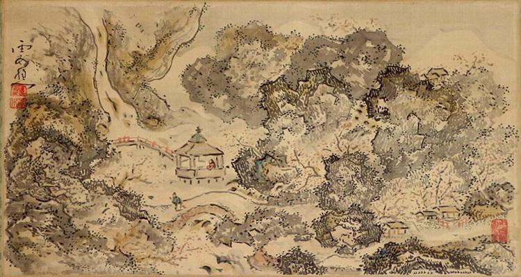 Landscape with Pavilion, Hanging Scroll, 1750 - Іке но Тайґа