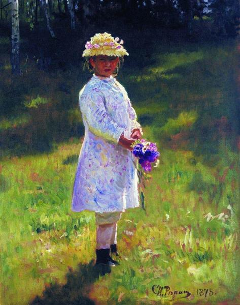 Girl with Flowers. Daughter of the Artist., 1878 - Ilya Repin