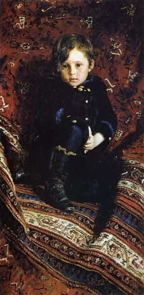 Портрет Ю.И.Репина, сына художника, в детстве. 1882. Государственная Третьяковская Галерея