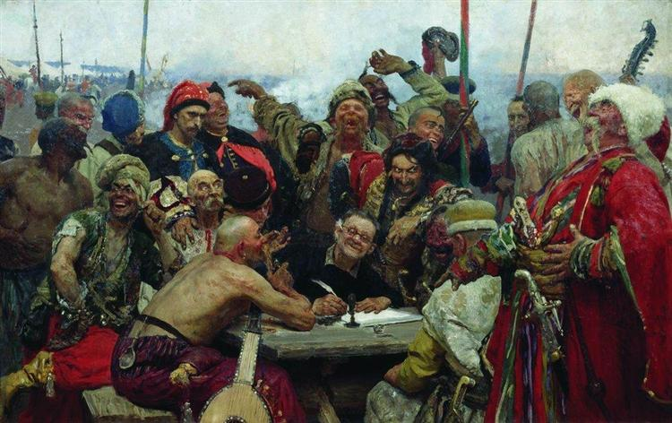 The Reply of the Zaporozhian Cossacks to Sultan Mahmoud IV, 1889 - 1896 - Ilya Repin