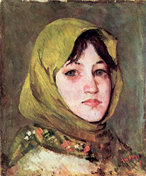 Peasant Woman with Green Headscarf - Ион Андрееску