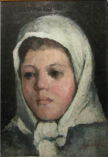 White Headscarf Girl Head