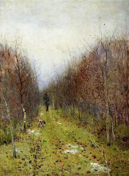 Autumn landscape with hunter, 1880 - Isaak Levitán