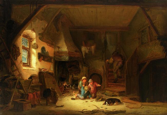 Interior with Children, 1641 - Isaac van Ostade