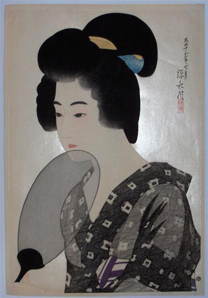 A Woman Holding a Fan, 1924 - Ito Shinsui