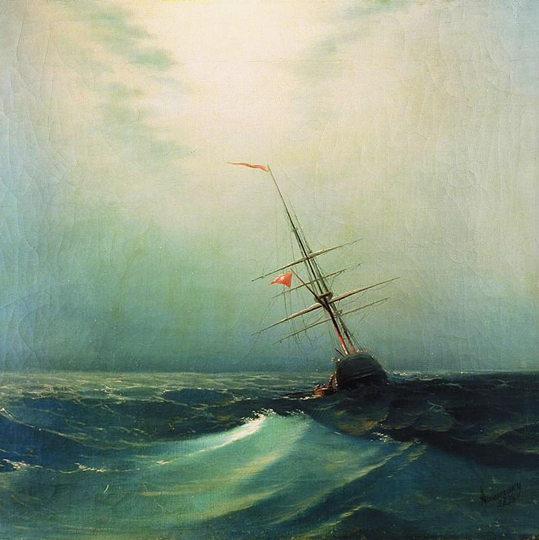 At night. Blue wave - Ivan Aivazovsky - WikiArt.org - encyclopedia of ...