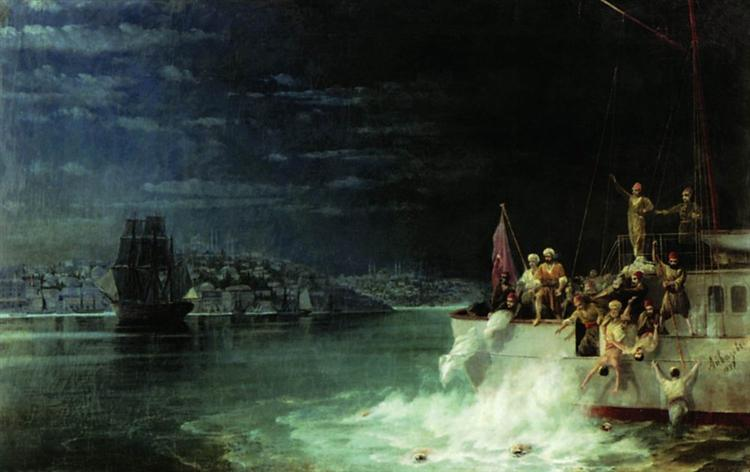 Night. Tragedy in the Sea of Marmara - Aivazovsky Ivan