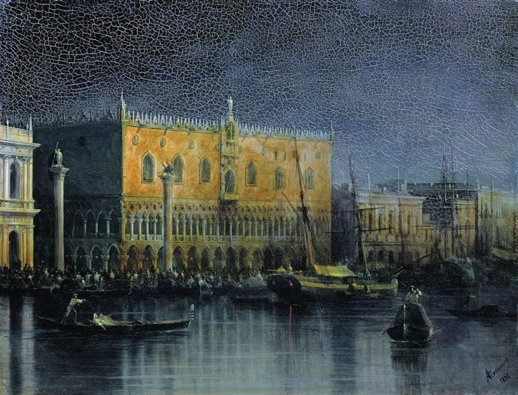 Palace rains in Venice by moonlight, 1878 - Iwan Konstantinowitsch Aiwasowski