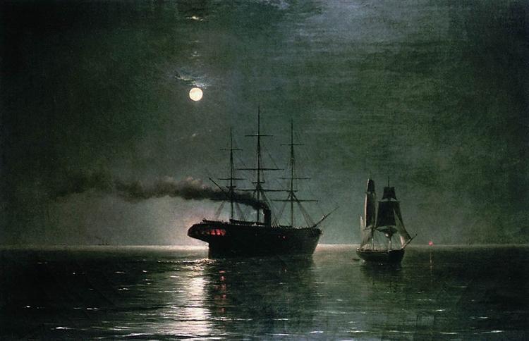 Ships in the stillness of the night, 1888 - Іван Айвазовський