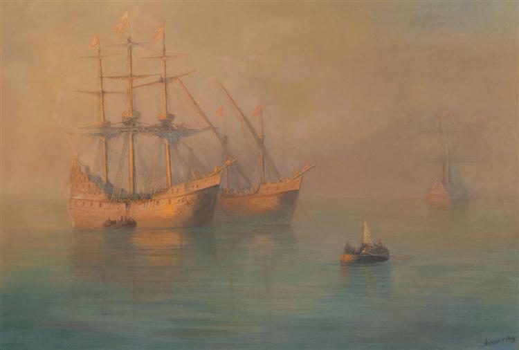 Ships of Columbus, 1880 - Ivan Aivazovsky