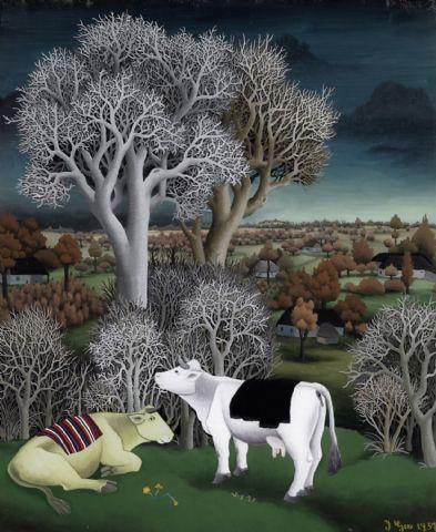 Cows in a landscape, 1957 - Ivan Generalić