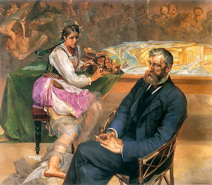 Portrait of Adam Asnyk with a Muse, 1895 - 1897 - Jacek Malczewski