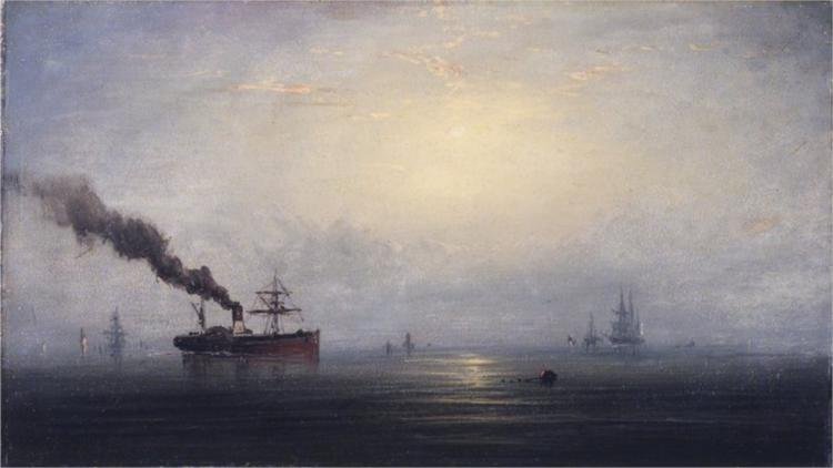 Foggy Morning on the Thames, 1875 - James Hamilton