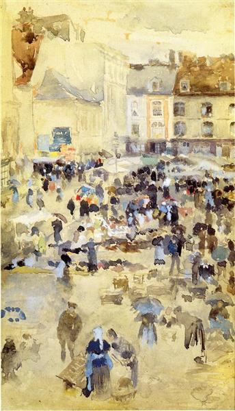 Variations in Violet and Grey - Market Place, 1885 - James McNeill Whistler