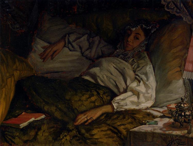 A Reclining Lady - James Tissot
