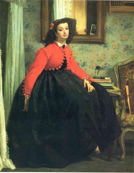 Portrait of Mlle. L.L. (Young Lady in a Red Jacket), 1864 - James Tissot