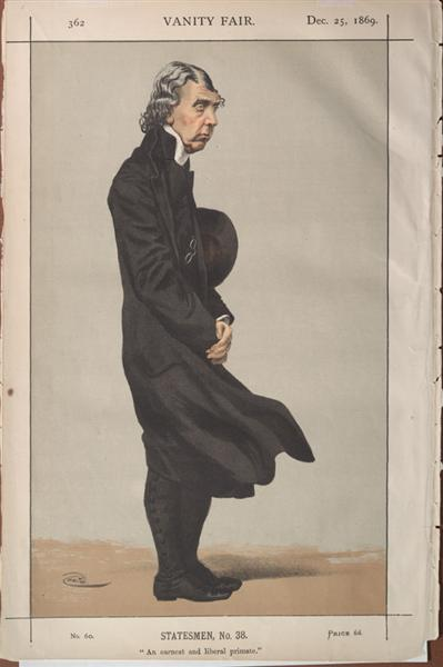 Statesmen No.380 Caricature of Archibald Campbell Tait, Archbishop of Canterbury - James Tissot