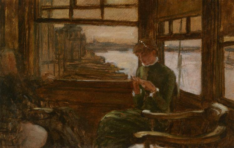Study of Cathlene Newton in a Thames Tavern - James Tissot
