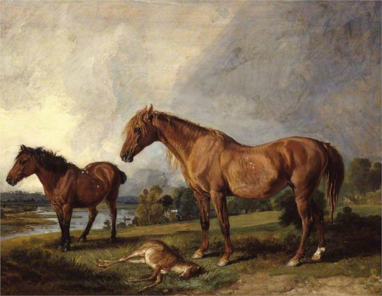 Portraits of Blackthorn, a Broodmare, with Old Jack, a Favourite Pony, the Property of E. Mundy, Esq. - James Ward