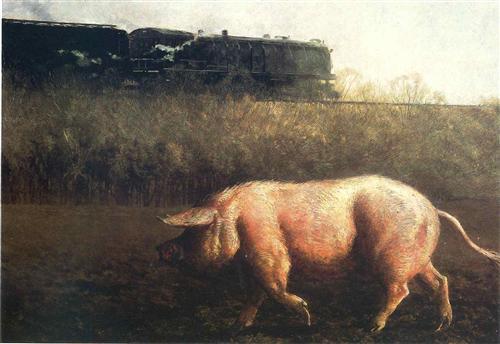 Pig and Train - Jamie Wyeth