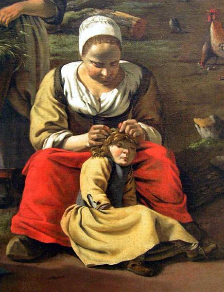 Delousing scene. Detail of a painting by Jan Siberechts, Farmyard, 1662 - Jan Siberechts