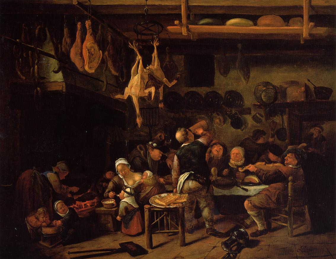 kitchen paintingFat Kitchen c1650  Jan Steen  WikiArtorg