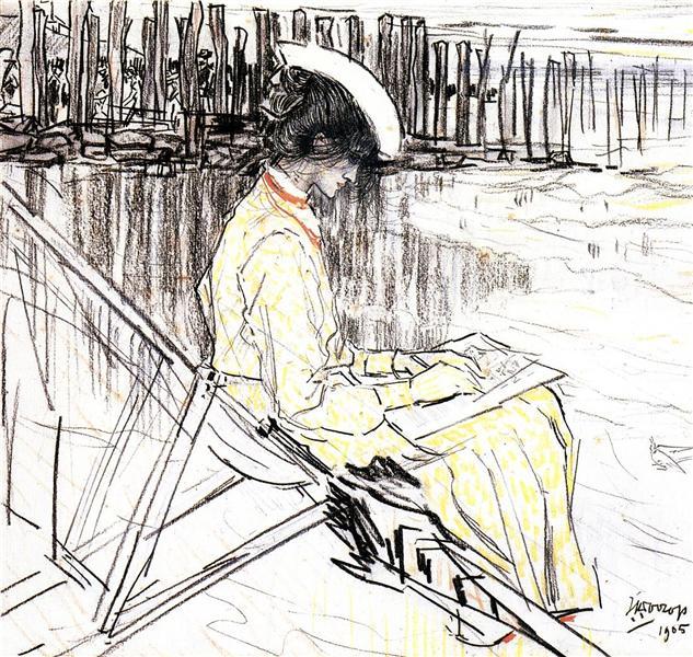 Portrait of Emma Bellwidt on the Beach at Domburg, 1905 - Jan Toorop