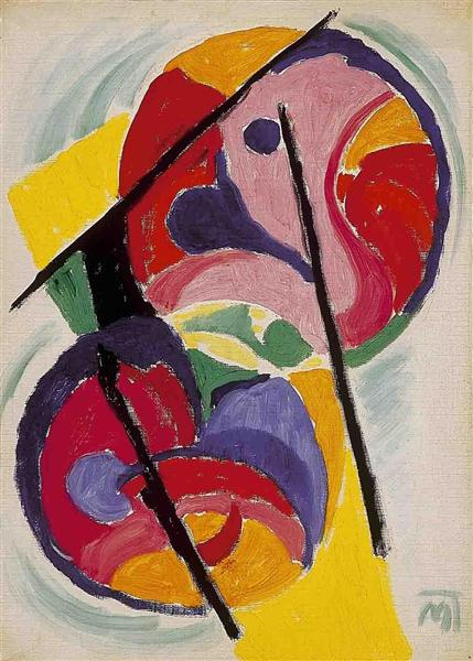 Red and Yellow Composition - Hans Mattis-Teutsch