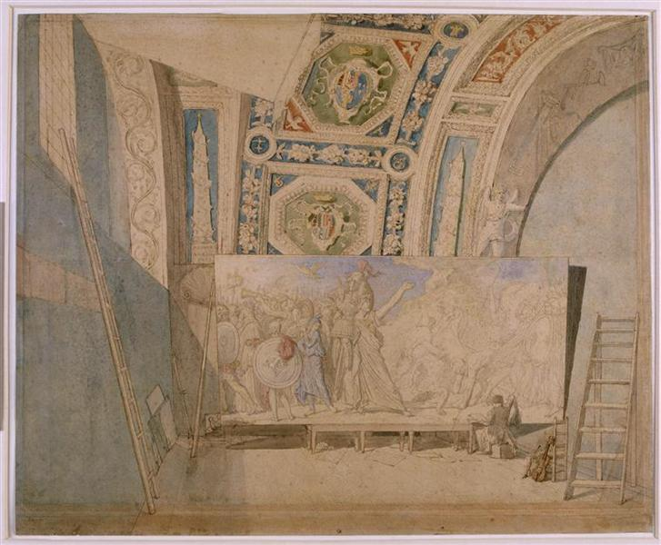 Ingres in his studio, painting Romulus winner of Acron, c.1812 - Jean Auguste Dominique Ingres
