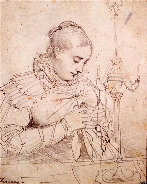Madame Jean Auguste Dominique Ingres, born Madeleine Chapelle I - Jean Auguste Dominique Ingres