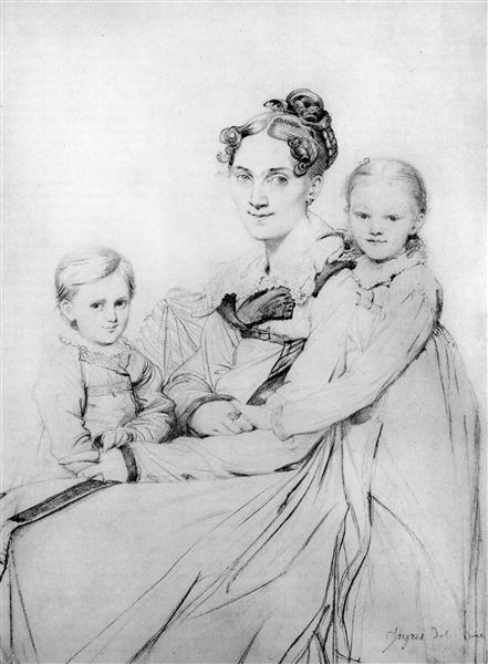 Madame Johann Gotthard Reinhold, born Sophie Amalie Dorothea Wilhelmine Ritter, and her two daughters, Susette and Marie - Jean Auguste Dominique Ingres