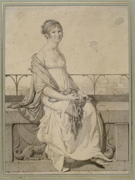 Portrait of miss Barbara Bansi sitting in an Italian landscape - Jean Auguste Dominique Ingres
