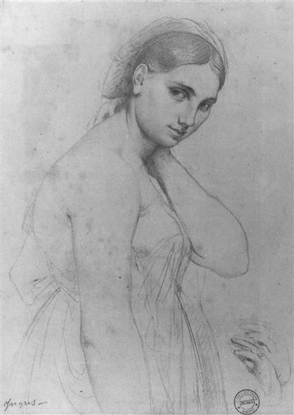 Study for Raphael and the Fornarina - Jean Auguste Dominique Ingres