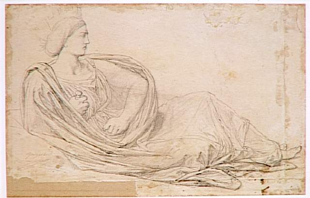 Study for the ceiling of City Hall. Figure symbolizing the city of Madrid, 1853 - Jean Auguste Dominique Ingres