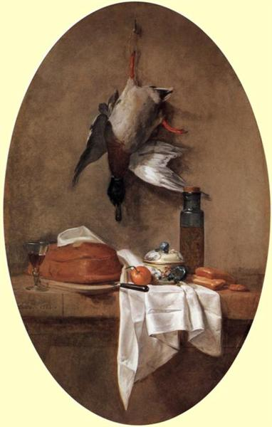 Duck with an Olive Jar, 1764 - Jean-Baptiste-Simeon Chardin