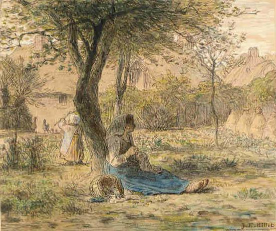 In the garden, 1862 - Jean-Francois Millet