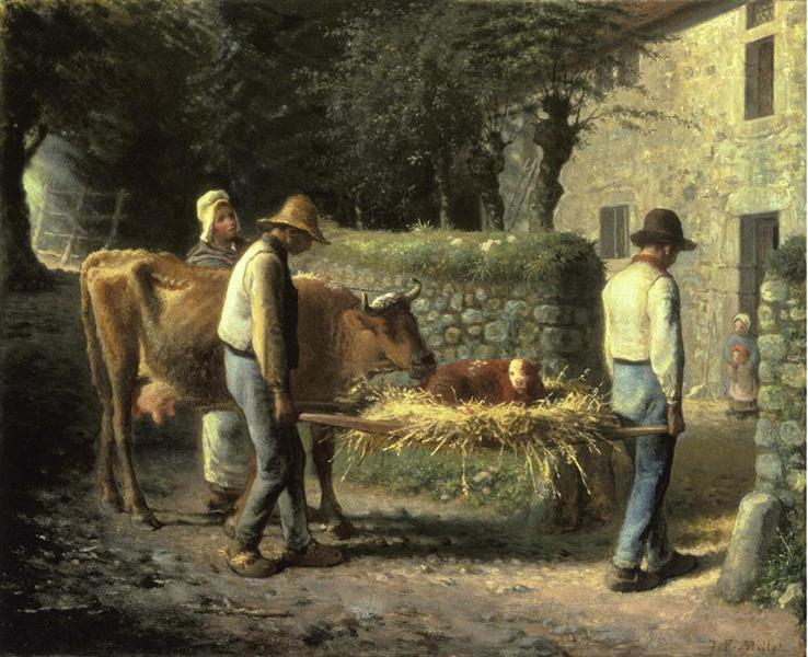 Peasants Bringing Home a Calf Born in the Fields - Jean-Francois Millet