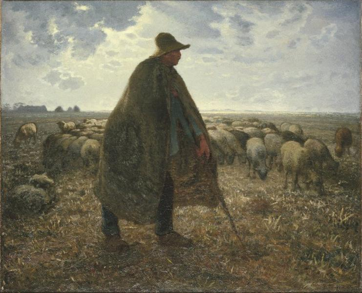 Shepherd Tending His Flock - Jean-Francois Millet