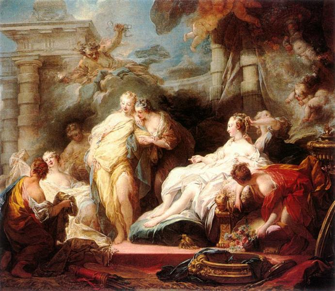 Psyche showing her sisters her gifts from Cupid - Jean-Honore Fragonard