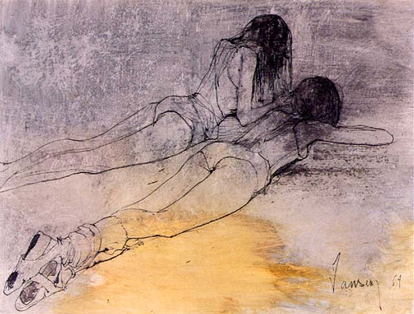 Two ballerinas resting, 1969 - Jean Jansem