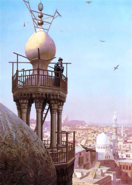 Un Muezzin Llamar desde lo alto de un minarete a la oración - Gérôme Jean-León