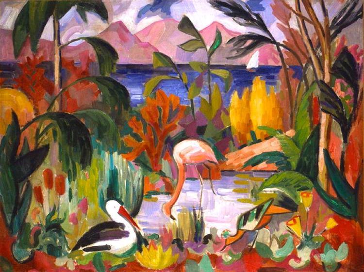 Paysage colore aux oiseaux aquatique - Metzinger Jean