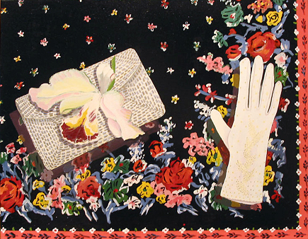 The Anniversary – Accessories – Scarf with Evening Purse, Orchid Corsage and Glove, 1971 - Joan Brown