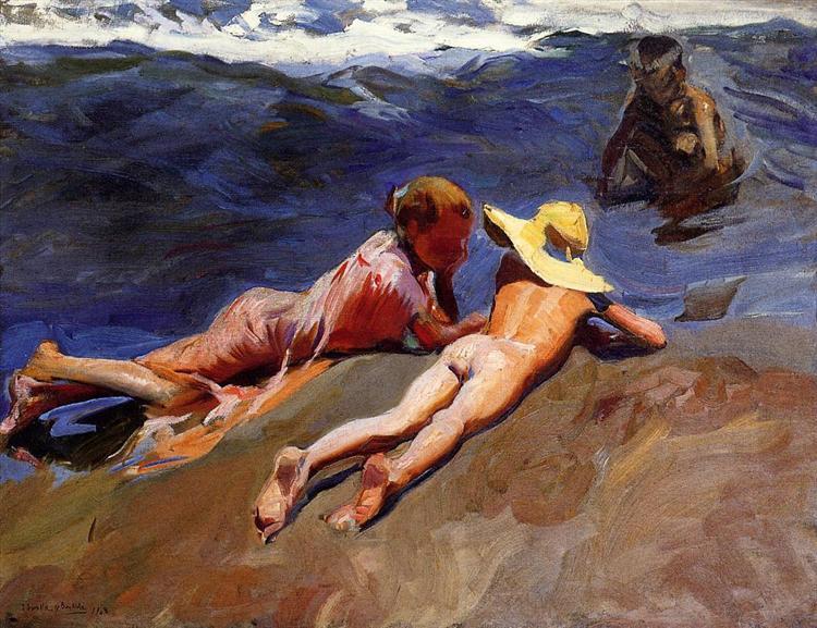 On the Sand, Valencia Beach, 1908 - Joaquín Sorolla
