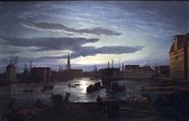 Copenhagen Harbour by Moonlight - Johan Christian Clausen Dahl