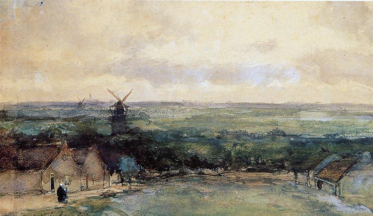 Landscape with mills - Johan Hendrik Weissenbruch