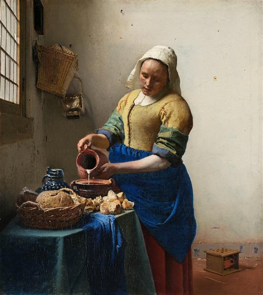 Молочница, c.1660 - Ян Вермеер