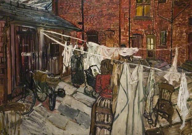 Courtyard with Washing - John Bratby
