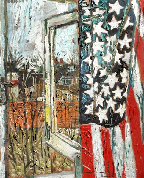 Kitchen Sink Realism Art: From The Coach House Window, Curtained With A 45 Star Flag