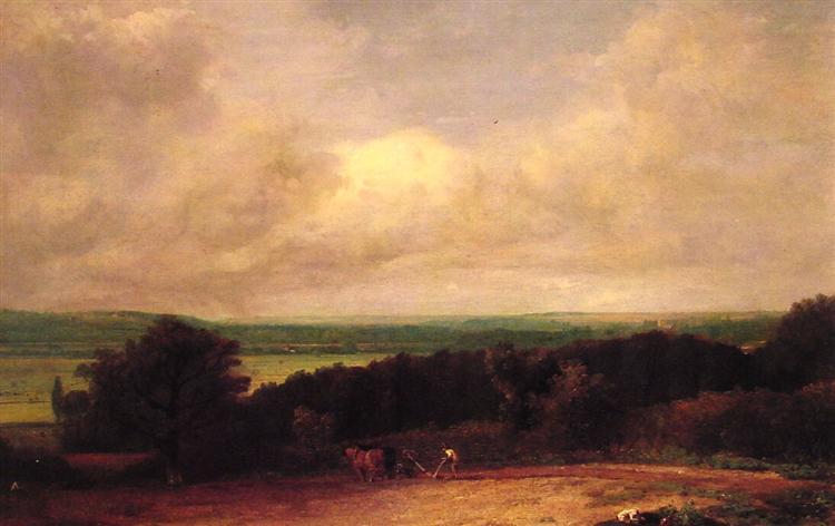 Landscape Ploughing Scene In Suffolk, 1814 - John Constable